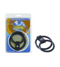 Nitrile Dual Cock Ring - Black