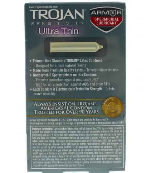Trojan Sensitivity Ultra Thin Armor Spermicidal Lubricated Condoms 12 Pack