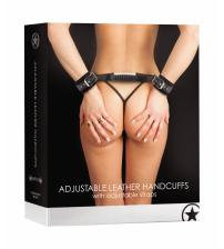Adjustable Leather Handcuffs - Black