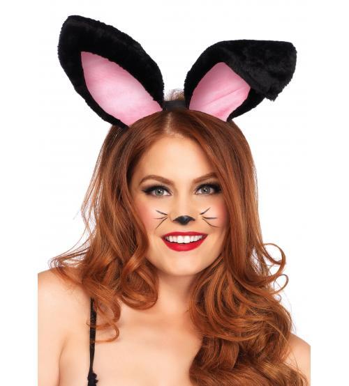 Plush Bunny Ears - Black