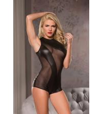Mesh Cutaway Bodysuit - Black - Large/ Extra  Large