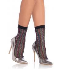 Rainbow Lurex Glitter Fishnet Anklets - One Size