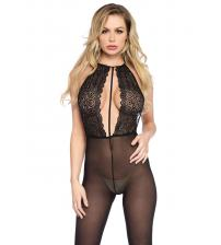 Backless Halter Keyhole Lace & Opaque  Bodystocking - One Size - Black