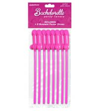 Bachelorette Party Favors Bendable Pecker Straws  - 8 Count