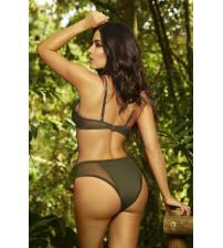 High Waisted Bikini Bottom - Olive - Large