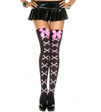 Cross Bone and Satin Bow Opaque Thigh Hi - One Size - Black / Pink