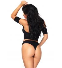 2 Pc Opaque Crop Top With Net Detail and Matching Thong Back Bottoms - One Size - Black