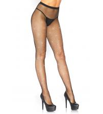 Fishnet Crystalized Tights With Multi Sized  Iridescent Rhinestone - Black