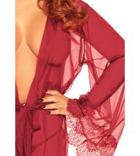3 Pc Sheer Short Robe With Eyelash Lace Trim and Flared Sleeves - Burgandy - Medium / Large