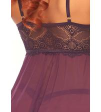 2 Pc Sheer Mesh Lace Babydoll With Matching G-String - Plum - Small/medium
