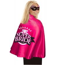 Super Bride Cape and Mask - Hot Pink/black