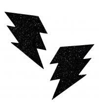 Black Malice Glitter Lightning Bolt Nipztix  Pasties