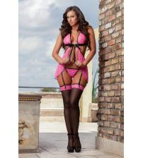3pc Sexy Darling Babydoll & Stockings - One Size - Pink