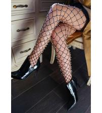 Faux Pearl Net Tights - One Size - Black
