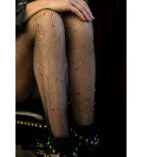 Gunmetal Studded Fishnet Tights - One Size
