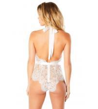 Eyelash Lace Halter Bodysuit With Functional Ties and Back Zipper - White - Large/extra Large