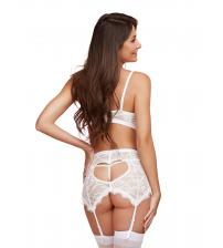 3 Piece Bra, Garterskirt, & G-String Set - Small  - White