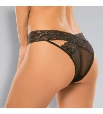Adore Desire Dainty Sheer Crotchless Panty - One Size - Black