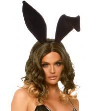 Velvet Bunny Ear Headband - Black