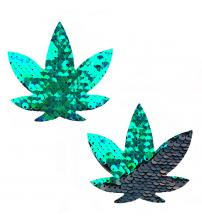 Ariel Green to Black Flip Sequin Gold Dope Af Weed Leak Pasties