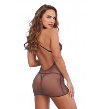 Chemise and G-String Set - One Size - Eggplant