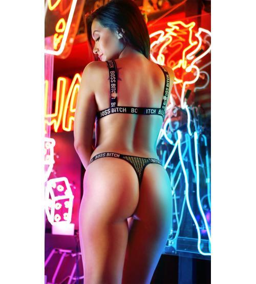 Boss Bitch Bralette and Thong Panty Set - Black / Gold - S/m