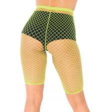 Industrial Fishnet Biker Shorts - One Size - Neon Yellow