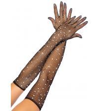 Rhinestone Fishnet Long Gloves - Black