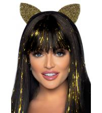 Glitter Cat Ear Headband Gold