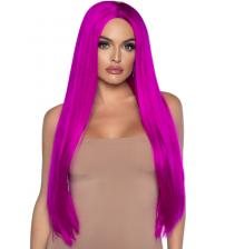 33 Inch Long Straight Center Part Wig Raspberry
