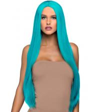 33 Inch Long Straight Center Part Wig - Turquoise