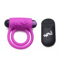 Bang - Silicone Cock Ring and Bullet With Remote Control - Purple