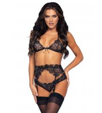 3 Pc Rhinestone Lace Bra Top Panty and Garter Belt Set - Small - Black