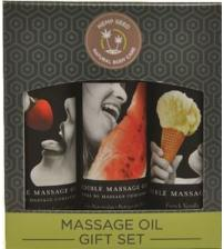 Edible Massage Oil Gift Set Box - Strawberry  Vanilla, and Watermelon 2 Oz Each
