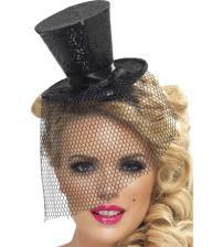Mini Top Hat on Headband - Black