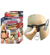 All American Whoppersvibrating 6.5-Inch Dong With Universasl Harness - Flesh